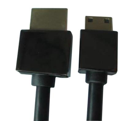 Kabel GoGEN HDMI HDMI - MINI HDMI (C), 1.4 high speed - ethernet, M/M, 1,5m, pozlacený, černá barva