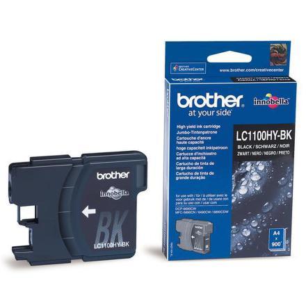 Inkoustová náplň Brother LC1100HYBk, 900 stran originální - černá