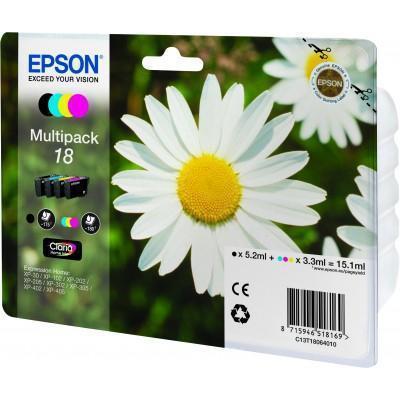 Inkoustová náplň Epson T1806 CMYK, 715 stran originální - černá/červená/modrá/žlutá
