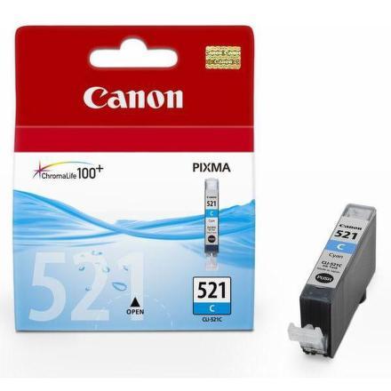 Inkoustová náplň Canon CLI-521C, 530 stran originální - modrá