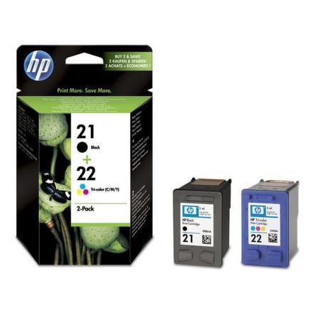 Inkoustová náplň HP No. 21+22, 2 pack, 190/165 stran originální - černá