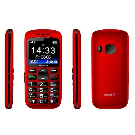 Mobilní telefon Aligator A670 Senoir - červený