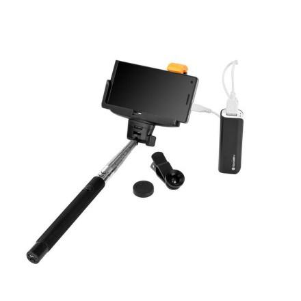 Selfie SET GoGEN 3in1, selfie tyč, power bank, mini objektiv