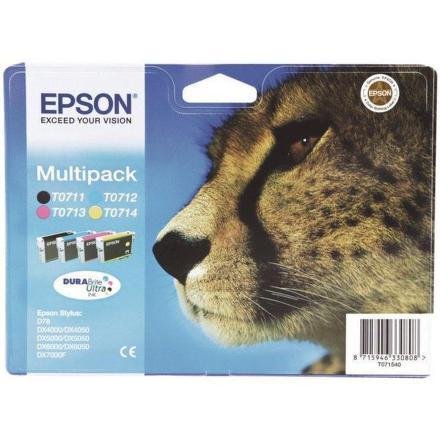 Inkoustová náplň Epson T0715, 3x 6ml, 1x 7ml originální - černá/červená/modrá/žlutá