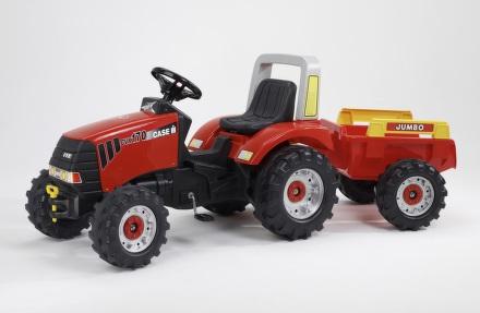 Šlapací traktor FALK Case IH CVX 170 + přívěs - červený/plast