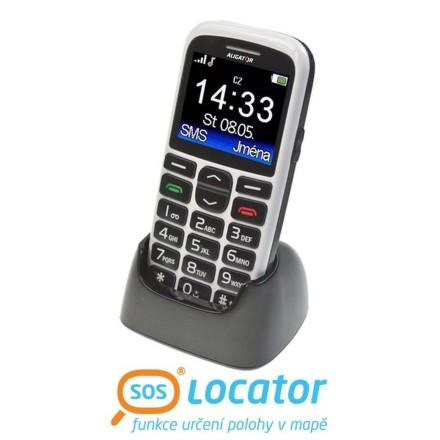 Mobilní telefon Aligator A680 + stojánek - bílý