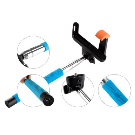 Selfie tyč GoGEN 2 teleskopická, bluetooth, modrá