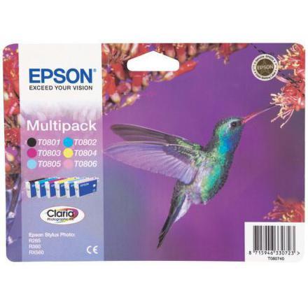Inkoustová náplň Epson T0807 originální - černá/červená/modrá/žlutá/sv.modrá/sv.červená