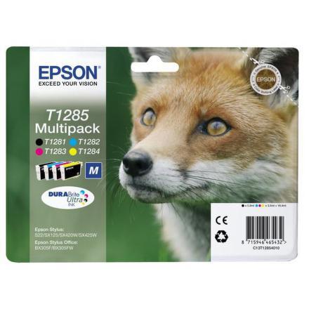 Inkoustová náplň Epson T1285, 16,4ml originální - černá/červená/modrá/žlutá