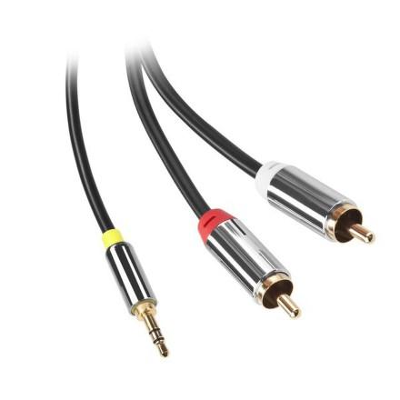 Kabel GoGEN Jack 3,5mm / 2x Cinch, 3m, pozlacené konektory - černý