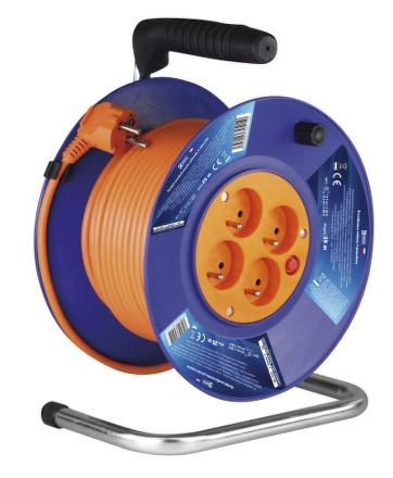 Kabel prodlužovací na bubnu EMOS 4x zásuvka, 25m - oranžový