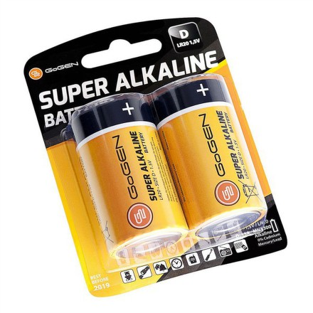 Baterie alkalická GoGEN SUPER ALKALINE D, LR20, blistr 2ks