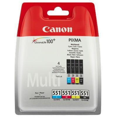Inkoustová náplň Canon CLI551, 4x 7ml originální - černá/červená/modrá/žlutá