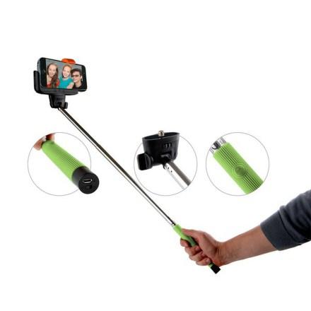 Selfie tyč GoGEN teleskopická, bluetooth spoušť na rukojeti - zelená