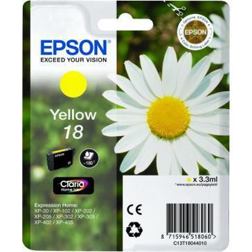 Inkoustová náplň Epson T1804, 180 stran originální - žlutá
