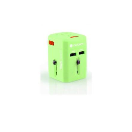 Cestovní adaptér GoGEN pro 150 zemí, 2x USB, zelený