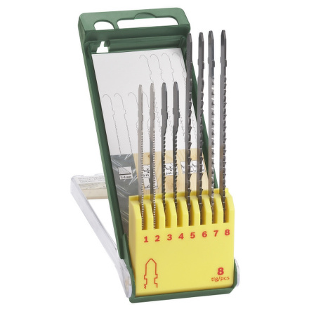 Sada Bosch 8 dílná kazeta pilových plátků na dřevo/kov/plast (T-stopka)