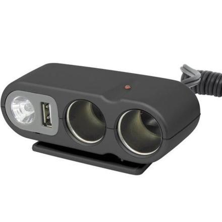 Rozdvojka Carpoint 12V - s USB výstupem / kabelem / osvitem