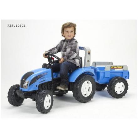 Šlapací traktor FALK Landini s valníkem - modrý/plast