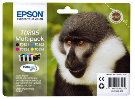 Inkoustová náplň Epson T0895, 5,8ml originální - černá/červená/modrá/žlutá