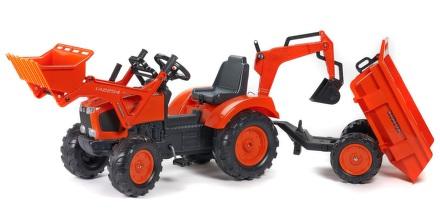 Šlapací traktor FALK Kubota s přední a zadní lžící+vlek - plast