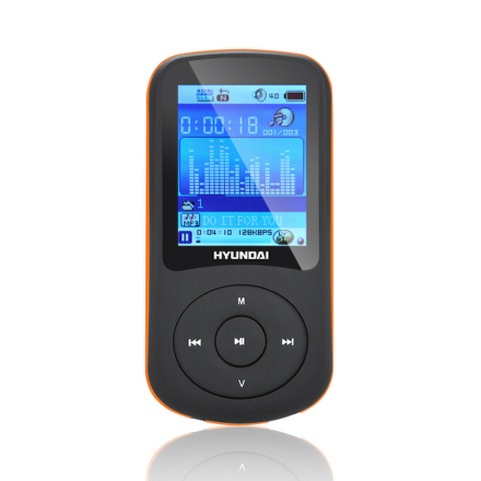 MP3 přehrávač Hyundai MPC 401 FM, 8GB, černý/oranžový