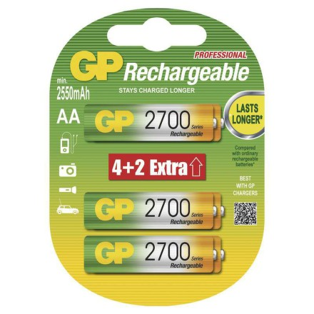 GP RC06,2700 mAh,NiMH (6ks - blistr)