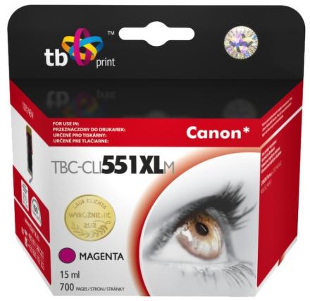 Inkoustová náplň TB Canon CLI-551XL kompatibilní - červená