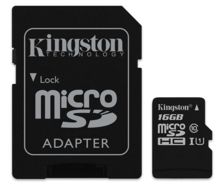 Kingston microSDHC karta 16GB UHS-I + adaptér