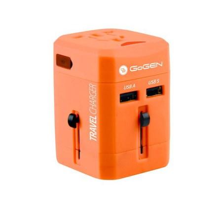 Cestovní adaptér GoGEN pro 150 zemí, 2x USB, červený